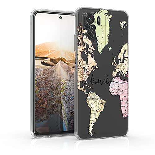 kwmobile Case kompatibel mit Xiaomi Redmi Note 10 / Note 10S - Hülle Silikon transparent Travel Schriftzug Schwarz Mehrfarbig Transparent