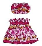 Hawaiian Toddler Girls Pa'u Hula Skirt with Top, Hawaii Floral Hula Dancer Skirts Dress for 1 to 4 Years Toddler Girl (Pink)