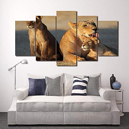 LWJPD Cuadro en Lienzo 5 Partes Cuadro Artístico Modular HD Impreso Lienzo Póster Animal León Familia Decoración del Hogar Sala De Estar Pared Imágenes De Paisaje Sin Marco 60 Inch