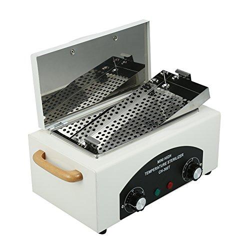 Filfeel Esterilizador de uñas, herramientas de belleza, desinfección UV a alta temperatura (60 min, 50~200 ℃ ajustable), 12.2 * 7.1 * 5.9 pulgadas, blanco
