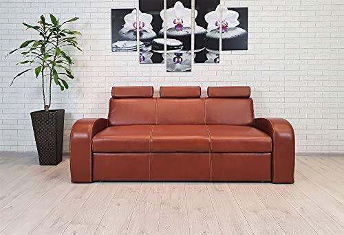Sofá de piel de 3 plazas Antalya 2 3z FS, ancho de 200 cm, con función de dormir y reposacabezas, sofá de piel auténtica, sofá de piel antigua, selección de colores