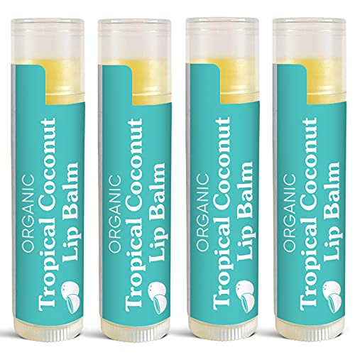 USDA Organic Lip Balms by Sky Organics (4 Pack) Tropical Coconut Lip Balms Blended with Sunflower Seed Oil Beeswax Coconut Oil and Vitamin E Lip Balm for Lips, Cruelty-free