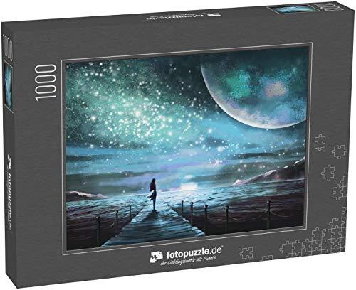 fotopuzzle.de Puzzle 1000 Teile Fantasie-Illustration mit einem unbekannten Planeten und Milchstraße, Sternen