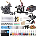 Tornado Complete Tattoo Kit for Beginners Tattoo Power Supply Kit 2 Machine Tattoo Gun 14 Color 5ml Inks 50pcs Mix Needles Tattoo Grips Kit with Case TK-TD2603