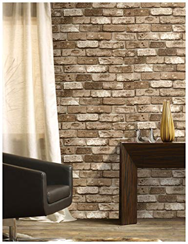 "HaokHome 69091 Vinyl Retro Vintage Faux Brick Wallpaper Lt.Brown for Home Kitchen Realistic Wall Decoration Wall Paper 20.8"" x 393.7"""