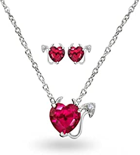 Cubic Zirconia Red AAA CZ Devil Heart Pendant Necklace Stud Earring Jewelry Set For Women For Teen 925 Sterling Silver