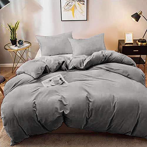 YORKING Warm Soft Bedding Duvet Cover Set Teddy Bear Fleece Duvet Covers Quilt Cover Set Fluffy Warm Gray
