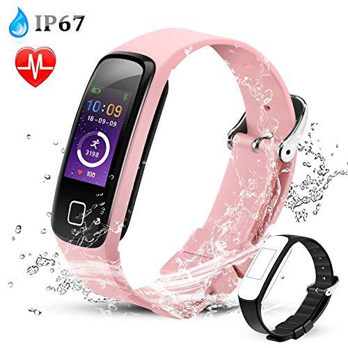 AGPTEK fitnessarmband dames, waterdichte IP67 fitnesstracker met slaapmonitor, calorieteller hartslagmeter, stappenteller en kalendermeldingen, smartwatch ondersteunt voor bellen, sms en SNS, roze
