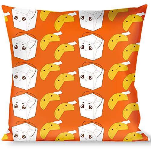 Pillow Decorative Throw Take Out Fortune Cookies Orange