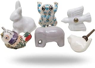 Set of 6 Cabinet Knobs Ceramic Animal Power Handmade Drawer Pull Diameter 1.6