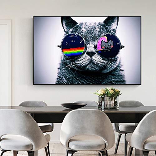 TYLPK druckt Katze Sonnenbrille Poster und Wohnzimmer Persönlichkeit Gemälde drucken Leinwand an der Wand A2 40x50cm