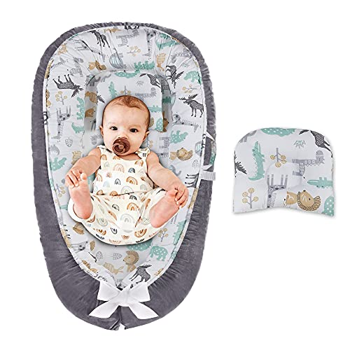 Baby Lounger Baby Nest Portable Co Sleeping Baby Lounger for Crib Bassinet Double-Sided Newborn Nest Bed with Pillow for Napping Traveling Animals