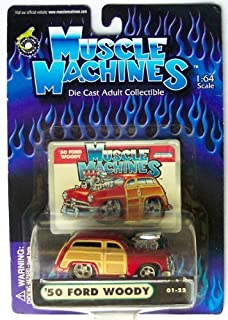 Muscle Machines Red 1950 Ford Woody Die Cast Collectible 1:64 Scale