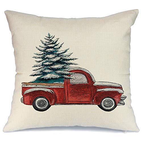 AENEY Farmhouse Christmas Pillow Cover 18x18 inch Red Truck and Christmas Tree Throw Pillow for Christmas Decor Farmhouse Christmas Decorations Throw Pillow Cover