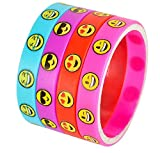 Emoji Smile Emoticon Silicone Wstband Bracelets Pack of 36