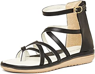 Marc Loire Women Ankle Strap Flat Sandals, Girls Party Shoes Flats, Open Toe Fashion Sandals with Zip Closure - Synthetic, Black