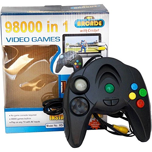 r&brothers 98000 in 1 video game pad built in tv game single player direct av inputs usb no batteries required single remote shooting, puzzle, racing, action birthday gift for kids- Multi color