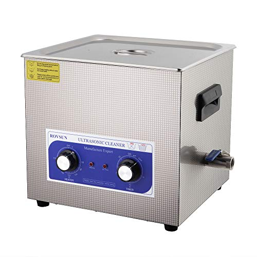 15L Ultrasonic Cleaner, Professional Sonic Cleaner w/Mechanical Timer Heater, Knob Control, Stainless Steel Low Noise for Cleaning Jewelry, Rings, Eyeglasses, Lenses, Dentures, Watches