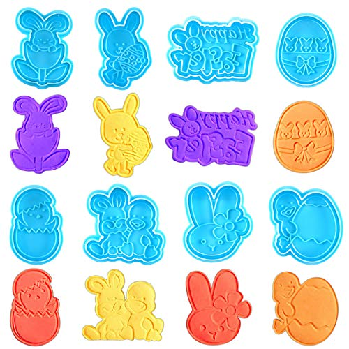 Rainmae 8Pcs Easter Egg Bunny Plunger Cookie, Fondant Craft Cake Decorating Cutter Molds, Cookie Stamp for Cake Decorating with Spring Ejection, 3D Plastic Biscuit Press Stamp Molds DIY Baking Tools