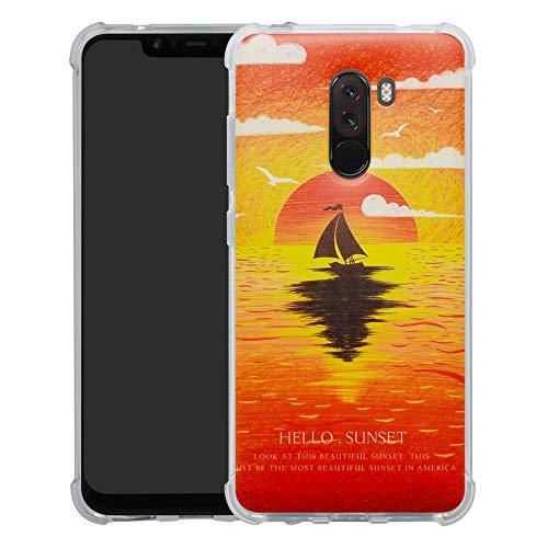 Xiaomi Pocophone F1 Cover,Brand Custodia Gel Morbida Disegni Bumper Ultra Leggera Sottile TPU Schema Case per Xiaomi Pocophone F1,Sunset