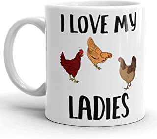 I Love My Ladies Rooster Coffee Mug, Crazy Chicken Lady, Funny Chicken Coffee for Chicken Lovers, Backyard Chicken Farmers Gifts, Morning Person, Chicken Cup, Rustic 11 oz Mug