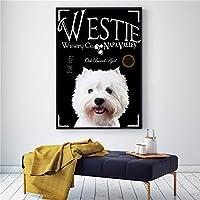 ウェスティブラックドッグアートコーヒーの壁の装飾かわいいポスター動物キャンバス絵画家の装飾スカンジナビアのリビングルームの装飾30x42CMフレームレスdホワイト