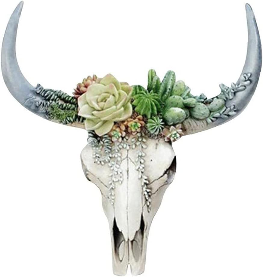 Fake Animal Heads for 20cm Wall Art Bull Head Shaped Hanging Ornament Rustic Chic Wall Hanging Resin Horn Skulls Steer Bull Head with Succulents Wall Decor