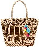 Handmade: Bolsas de Mano y HobosBolsas de paja de verano Totes de paja tejidos bolso de bolsas grandes Tote Hecho a mano Tejido Tote Bolso de mujer-caqui