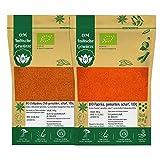 BIO Chillipulver scharf Chilischoten Chili gemahlen + BIO Paprikapulver scharf Paprika gemahlen 200g (2x100g) Organic Bio-zertifiziert DE-ÖKO-039