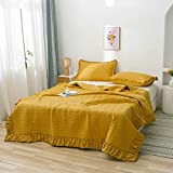 ZZIKO Mustard Yellow Quilt Set Full Size Ruffled Texture Bedspread Coverlet Set Teen Girls Summer Blanket with Pillowcases Lightweight Microfiber