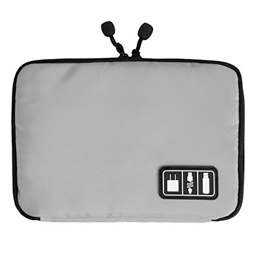 Demarkt Electronic Accessories Organizer Double Layers Portable Travel Storage Bag for iPad–CABLE, ADAPTER, 5V, Power Bank, USB Stick, Drive grey grey