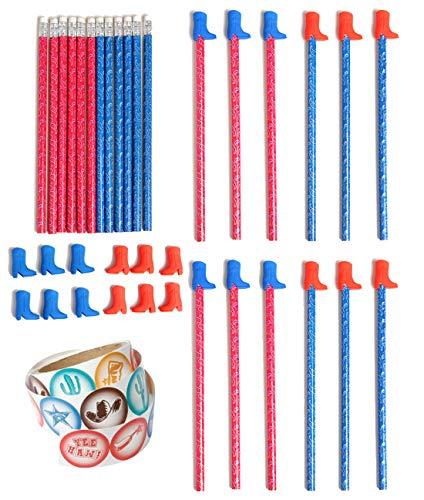 49 Piece Western Stickers, Pencils & Cowboy Boot Eraser Pencil Tops Bundle Pack for Kids