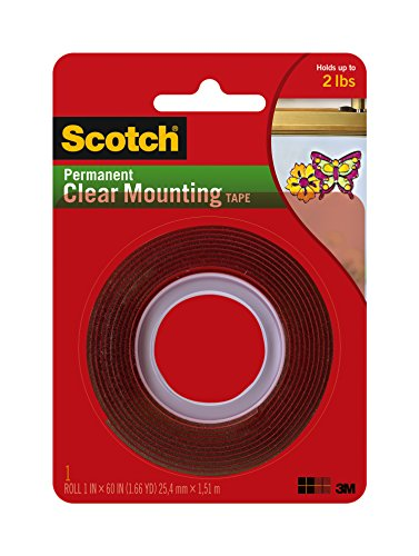 "Scotch Permanent Clear Mounting Tape, holds up to 2 pounds, 1"" x 60"", 1 Roll"