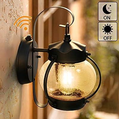 Dusk to Dawn Sensor Wall Lantern Outdoor Light Fixture Black Sconce Porch Light with E26 Base Socket, Anti-Rust Seeded Glass Waterproof Matte Black Wall Lamp for Garden, Garage(NOT Motion/Solar Type?