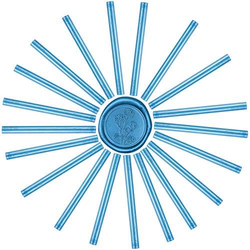 CRASPIRE 20本 シーリングワックススティック グルーガン 青 シーリングスタンプ用 レター 蝋封 洋式 結婚式 告白 招待状 誕生日の封筒の装飾 DIY用 手芸用品