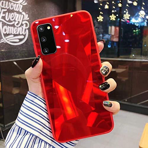 Herbests Kompatibel mit Samsung Galaxy S20 Hülle Spiegel Schutzhülle Mädchen Frauen Glänzend Bling Glitzer Silikon Handyhülle Ultra Dünn Silikon Rückseite Glitzer Hülle Tasche,Rot