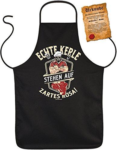 Grillschürze für Männer - Echte Kerle stehen auf zartes Rosa - Kochschürze Grill-Schürze schwarz lustiges Geschenk-Set mit Grillmeister-Urkunde