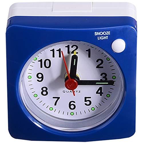 Wzdszuilnz Mini Plaza de Noche silenciosa Barrido Reloj Despertador Estudiante silenciosa de Alarma de Reloj for no Hacer tictac del Ruido con LED de luz Snooze Decoración (Color : Blue)