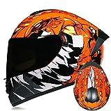 Dgtyui Casco integrale da corsa invernale caldo casco da moto bicolore casco sportivo completamente sfoderabile e lavabile - c5 XL