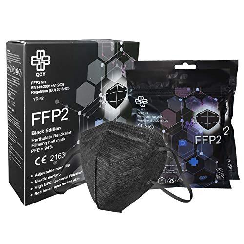 FFP2 Maske Schwarz [Black Edition] Schachtel à 10 Stück CE Zertifiziert Masken Mundschutz, Mit Gummiband und anpassbarem Nasenbüge [5 Filtrationsschichten] Schwarze