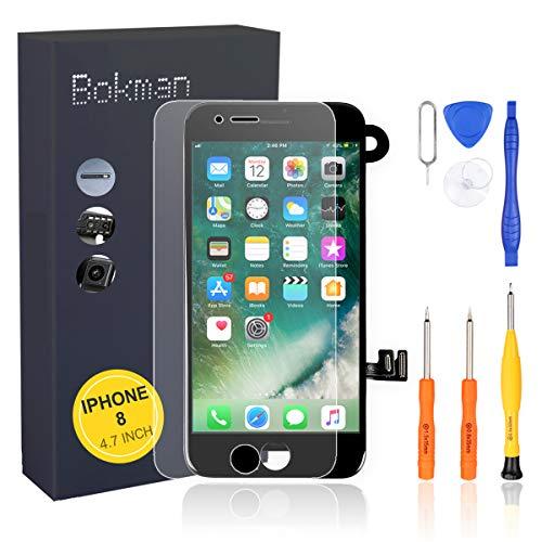 bokman Vormontiertes Display Reparaturset kompatibel mit Schwarz iPhone 8, Inklusive FaceTime-Kamera, Mikrofon, Lautsprecher und Näherungssensor, Passendes Profi-Werkzeugset enthalten