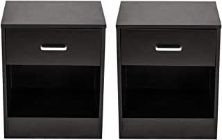 Small Wood Bedside Cabinet,Multipurpose Drawer Bedside Side Table Storage,with Drawer and Shelf Storage Side Table Bedside Table Furniture(Black)