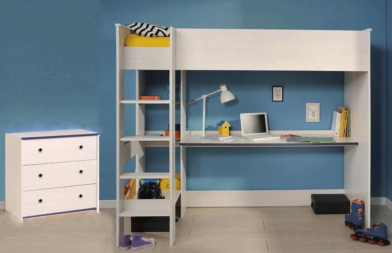 Expendio Kinderzimmer Snoopy 29a Kiefer-Weiss 2-teilig Hochbett Bett Schubkastenkommode Kommode