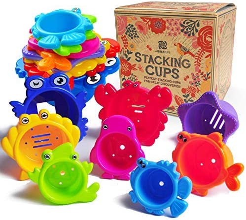 aGreatLife Stacking Cups Bath Toys for Toddlers: My First Under The Sea Animal Stacker with Holes for Sprinkling Wate...