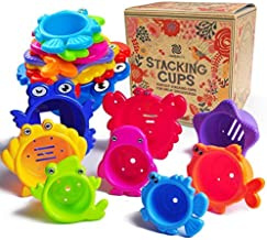 aGreatLife Stacking Cups Bath Toys for Toddlers: My First Under The Sea Animal Stacker with Holes for Sprinkling Water and...