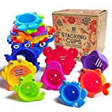 aGreatLife Stacking Cups Bath Toys for Toddlers: My First Under The Sea Animal
