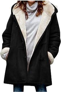 Youmymine Women Winter Plus Size Coat Solid Plus Velvet Cardigan Plush Hooded Horn Buckle Pocket Overcoat