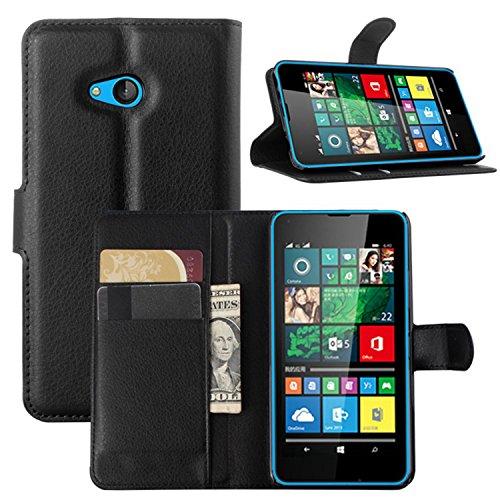 Ycloud Tasche für Microsoft Lumia 640 Dual-SIM Hülle, PU Ledertasche Flip Cover Wallet Hülle Handyhülle mit Stand Function Credit Card Slots Bookstyle Purse Design schwarz