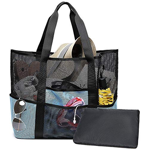 Bertasche Strandtasche XXL Strandtasche Groß Familie für Baden Shopper Urlaub Reise Picknick (Schwarz/Blau)