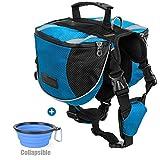 Lifeunion Polyester Dog Saddlebags Pack Hound Travel Camping Hiking Backpack Saddle Bag for Small Medium Large Dogs (Orange,L)